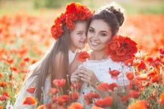 Mooie moeder en haar dochter die op het gebied van de de lentebloem spelen royalty-vrije stock afbeelding