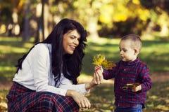 Mooie moederspelen met haar zoon in het park in de herfst royalty-vrije stock fotografie