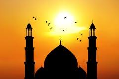Mooie moskee bij zonsondergang Royalty-vrije Stock Afbeelding