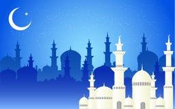 Mooie moskee en cresent maan op blauwe backgrou van de moskeeschaduw royalty-vrije illustratie