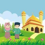 Mooie moskee, met het ontwerp van het landschapslandschap vector illustratie