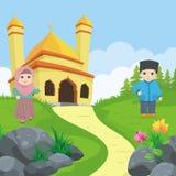 Mooie moskee, met het ontwerp van het landschapslandschap stock illustratie
