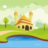 Mooie moskee, met het ontwerp van het landschapslandschap royalty-vrije illustratie