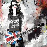 Mooie musicus het spelen gitaar royalty-vrije illustratie
