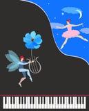 Mooie muziekkaart of affiche Zwarte overleg grote piano, leuke gevleugelde dansende fee in roze tutu en elf met bloem - lier vector illustratie