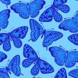 Mooie naadloze achtergrond, blauwe vlinder. Stock Foto