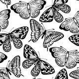Naadloze achtergrond van vlinders zwart-witte kleuren Stock Fotografie