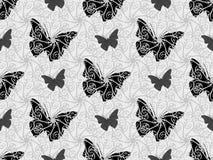 Mooie naadloze achtergrond van vlinders zwart-witte kleuren Stock Foto