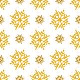 Mooie naadloze achtergrond voor Vrolijke Kerstmis of Nieuw jaar Gouden sneeuwvlokken op een witte achtergrond Royalty-vrije Stock Afbeelding