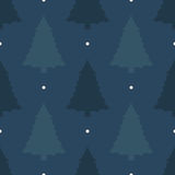 Mooie naadloze achtergrond voor Vrolijke Kerstmis of Nieuw jaar Pijnboomboom op een donkere achtergrond Patroon voor verpakkend d Royalty-vrije Stock Fotografie