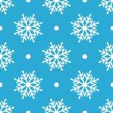Mooie naadloze achtergrond voor Vrolijke Kerstmis of Nieuw jaar Witte sneeuwvlokken op een blauwe achtergrond Stock Afbeeldingen