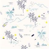 Mooie naadloze eiland patternon witte achtergrond Stock Foto