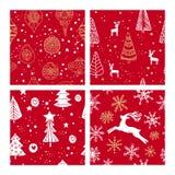 Mooie naadloze Kerstmis en de winter met de hand getrokken patronen, Vele feestelijke elementen en patronen stock illustratie