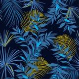 Mooie Naadloze monotone blauwe en gele tropica van de de Zomernacht vector illustratie