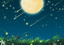 Mooie Nacht met Grote Maan en Shooting Stars stock illustratie