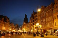 Mooie nacht in Polen, Wroclaw, nacht! stock afbeelding