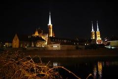 Mooie nacht in Polen, Wroclaw, nacht! royalty-vrije stock foto