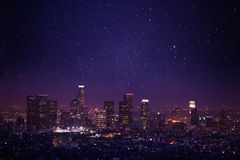 Mooie nachtcityscape mening van Los Angeles, de V.S. royalty-vrije stock afbeelding
