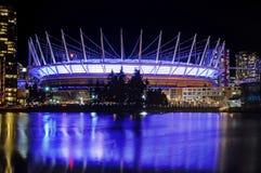Mooie Nachtmening van BC Place Stadium in Vancouver Royalty-vrije Stock Foto's