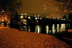 Mooie nachtmening van de Herfst van Praag Royalty-vrije Stock Fotografie