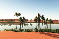 Mooie natuurlijke achtergrond - het Afrikaanse oase 3d teruggeven Royalty-vrije Stock Afbeelding