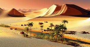 Mooie natuurlijke achtergrond - het Afrikaanse oase 3d teruggeven Royalty-vrije Stock Foto