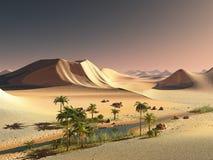 Mooie natuurlijke achtergrond - het Afrikaanse oase 3d teruggeven stock illustratie
