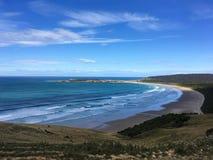 Mooie Oceaan en strandmening, Nieuw Zeeland stock foto's