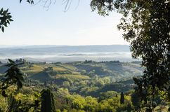 Mooie ochtend in Toscanië, Italië stock foto