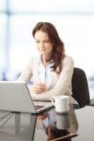 Mooie onderneemster die aan haar laptop werken Stock Afbeelding