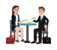 Mooie onderneemster en zakenman binnen vector illustratie