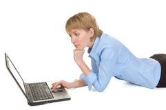 Mooie onderneemster met laptop. Royalty-vrije Stock Afbeelding