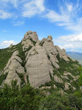 Mooie ongebruikelijke gevormde bergen in Mont serrat, Spanje stock foto's