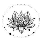 Mooie, oosterse gedetailleerde lotusbloembloem - modieus idee van tatoegering Stock Fotografie