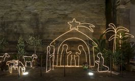 Mooie openluchtgeboorte van christusscène in Piazza del Duomo, Pistoia, Toscanië, Italië royalty-vrije stock fotografie