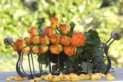 Mooie oranje rozen in een mand Royalty-vrije Stock Afbeeldingen
