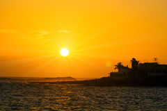 Mooie oranje zonsondergang Stock Afbeelding