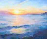 Mooie oranje zonsondergang op de Zwarte Zee stock illustratie