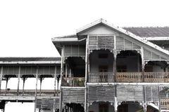 Mooie oude antieke houten de bouw Thaise geïsoleerde stijl stock afbeeldingen