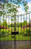 Mooie oude die tuinpoort met groene klimop wordt behandeld Royalty-vrije Stock Fotografie