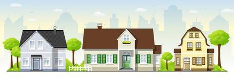 Mooie oude huizen royalty-vrije illustratie