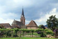 Mooie oude kerk, de Elzas, Frankrijk Royalty-vrije Stock Afbeeldingen
