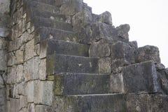 Mooie oude natuurlijke donkere de steendiabase van steentreden met steenstappen Stock Foto's
