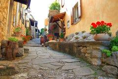 Mooie oude straat met bloemen in Gezoem, Istria, Kroatië royalty-vrije stock afbeeldingen