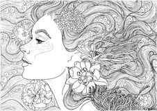 Mooie overzeese godin, stock illustratie