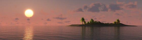 Mooie overzeese zonsondergang op het strand met palmen Royalty-vrije Stock Fotografie