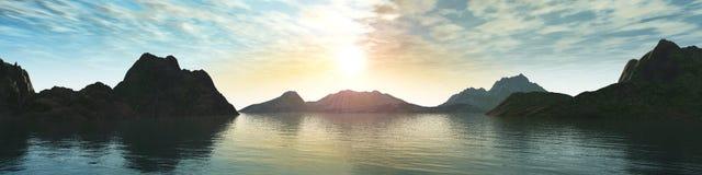 Mooie overzeese zonsondergang op het strand met palmen Stock Afbeelding