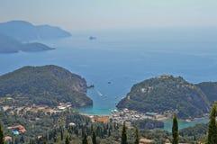 Mooie Paleokastritsa van een andere mening in Griekenland Stock Foto