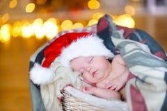 Mooie peuter in een Santa Claus-hoed Royalty-vrije Stock Fotografie