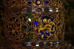 Mooie pijler in Wat Sri Rong Muang, Lampang, Thailand Stock Foto